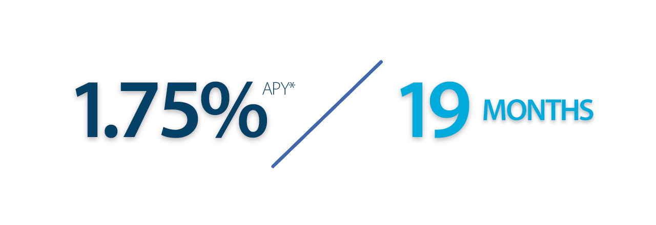 Earn 1.75% APY on a 19 month certificate