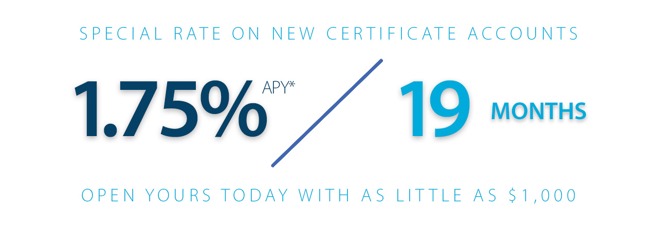 Earn 1.75% on a 19 month certificate