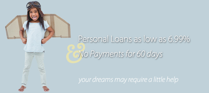 Personal Loans with Rates as low as 6.99% and NO payments for 60 days