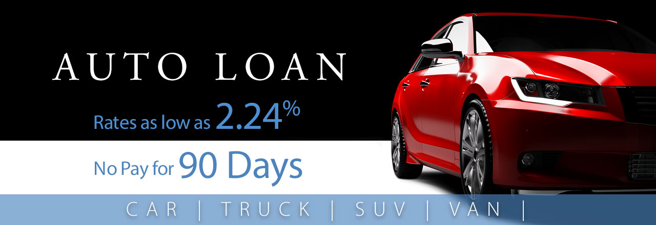 Auto loan rates as low as 2.24% and no payments for 90 days