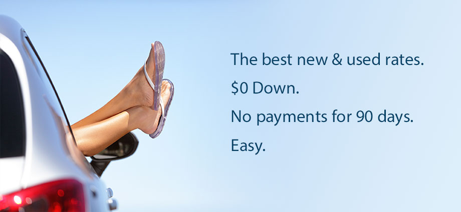 An auto loan with $0 down and no payments for 90 days